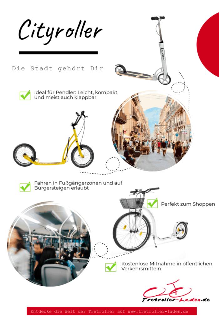 Infografik Cityroller Scooter - Vorteile von Tretrollern in der Stadt