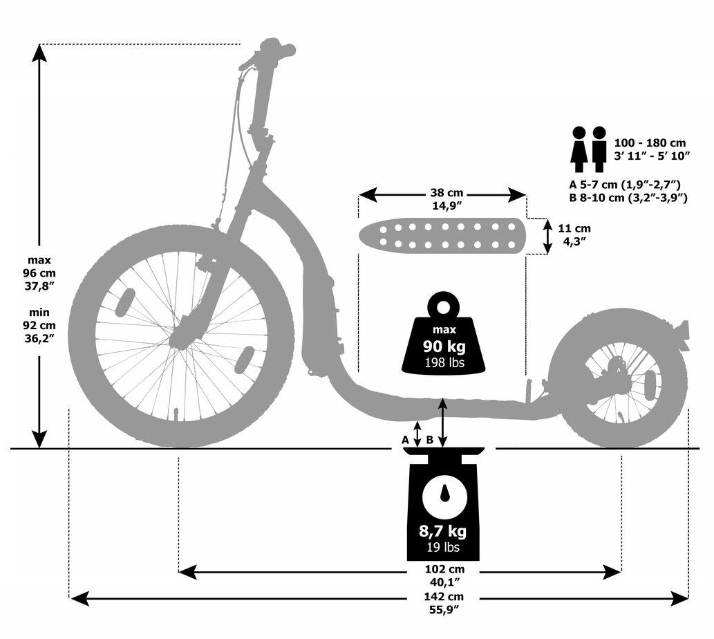Maße-Kickbike-Freeride-G4-Kinderroller
