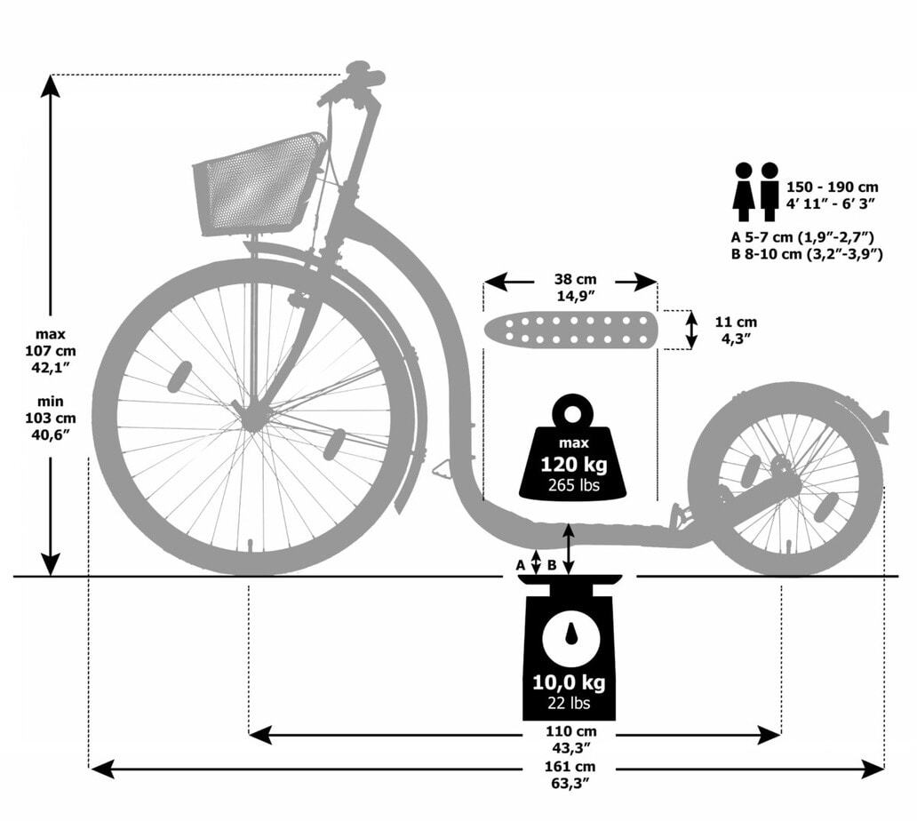 Maße-Kickbike-Tretroller-City-G4