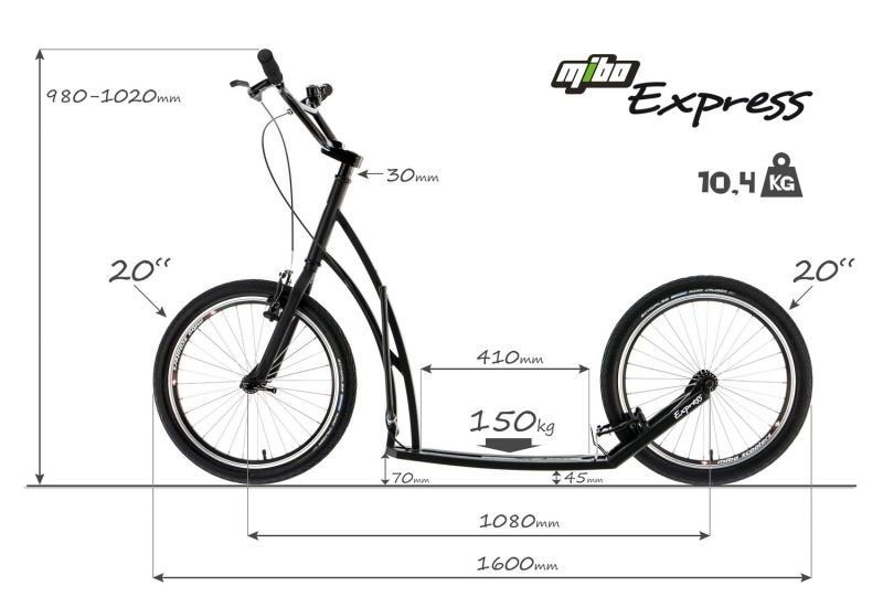 Maße-Tretroller-Mibo-Express